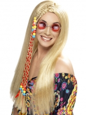 Aanbieding Blonde Hippie Party Pruik