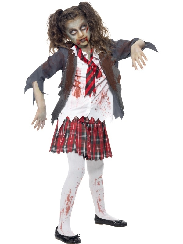 aanbieding zombie school girl halloween kostuum tot 50. Black Bedroom Furniture Sets. Home Design Ideas
