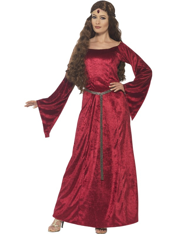 Rode Lange Jurk.Medieval Maid Rode Lange Jurk Kostuum Tot 50 Korting Kostuumdump Nl